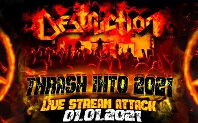 DESTRUCTION streamen Live Show an Neujahr, Tickets JETZT erhältlich
